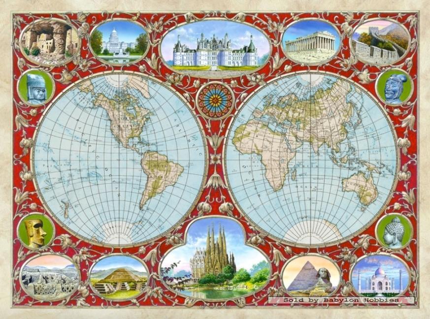 castorland puzzle 2000 - world map - slika