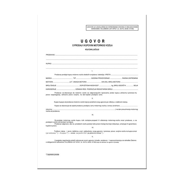ugovor o kupoprodaji motornog vozila 2018 download